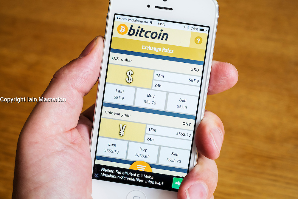 Detail of Bitcoin currency exchange conversion app on iPhone smart phone