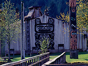 Chief Shakes Tribal House built in 1940 to represent a fine example of an upper caste Tlingit clan or communal living house of the pre-missionary era, Shakes Island, Wrangell, Alaska.