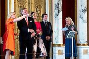 Werkbezoek van  Koning Willem Alexander en  Koningin Maxima aan de Duitse deelstaten<br /> Mecklenburg-Voor-Pommeren en Brandenburg.<br /> <br /> Working visit by King Willem Alexander and Queen Maxima to the German states of Mecklenburg-Western Pomerania and Brandenburg.<br /> <br /> Op de foto / On the photo: Koning en Koingin krijgen een rondleiding door Ahnengalerie en Thronsaal Schloss Schwerin / King and Koingin are given a tour of the Ahnengalerie and Thronsaal Schloss Schwerin