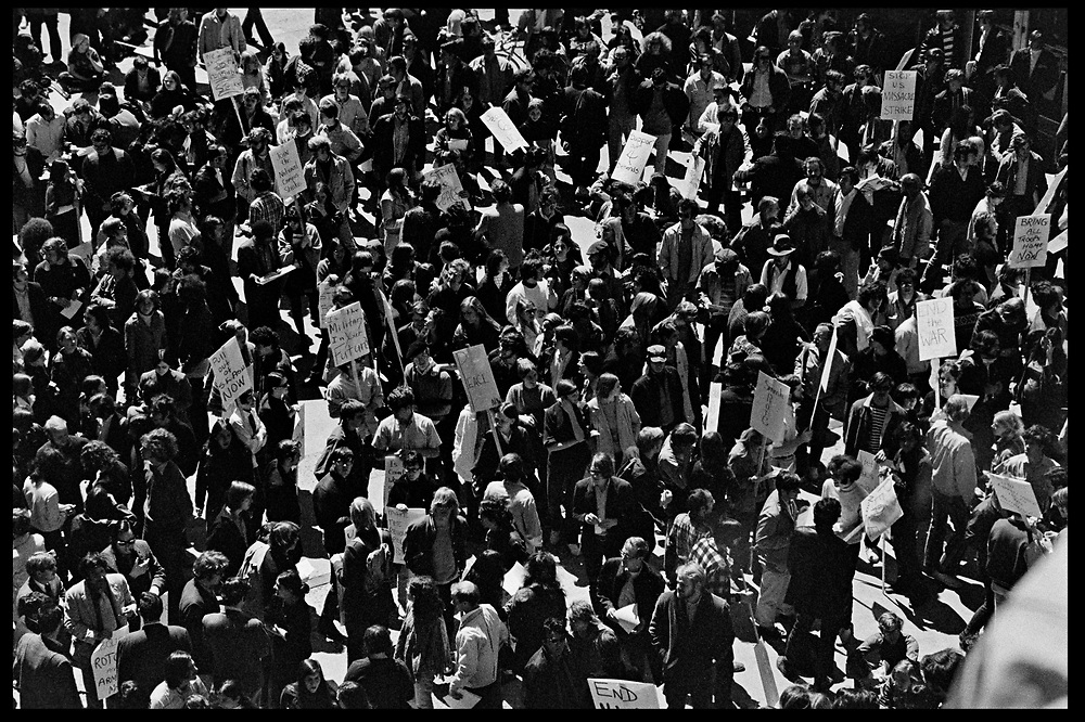 Madison, WI – May, 1970. Protesters fill the streets in Madison. On May 1, 1970, there was a general student strike in response to the news that the U.S. had expanded bombing into Cambodia. There was a march against the war, led by Veterans for Peace in Vietnam; and after the May 4 shootings at Kent State University in Ohio, there were more protests at UW Madison, which led to the police being called in, and teargassing demonstrators in the streets and on campus.