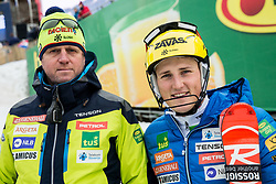 """Klemen Bergant, coach of Slovenia  and Stefan Hadalin (SLO) after the 1st Run of FIS Alpine Ski World Cup 2017/18 Men's Slalom race named """"Snow Queen Trophy 2018"""", on January 4, 2018 in Course Crveni Spust at Sljeme hill, Zagreb, Croatia. Photo by Vid Ponikvar / Sportida"""