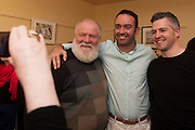 18/07/2015 repro free. Nicky O Malley, Philip McGuinness and Dermot O Meara  at the World Premiere of The Match Box  a The Galway International Arts Festival production written by Frank MccGuinness and Director by Joan Sheehy and starring Cathy Belton at the Town Hall Theatre, Galway .  <br /> Photo:Andrew Downes:XPOSURE