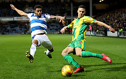 West Bromwich Albion's Kieran Gibbs (right) in action with Queens Park Rangers' Darnell Furlong during the Sky Bet Championship match at Loftus Road, London.