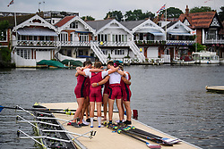 © Licensed to London News Pictures. 28/06/2017. London, UK. An Oxford Brookes rowing team hug before a race on Day one of the Henley Royal Regatta, set on the River Thames by the town of Henley-on-Thames in England.  Established in 1839, the five day international rowing event, raced over a course of 2,112 meters (1 mile 550 yards), is considered an important part of the English social season. Photo credit: Ben Cawthra/LNP