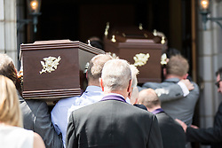 © Licensed to London News Pictures. 15/07/2015. Lytham St Annes, UK. The funeral of former Birmingham city footballer Denis Thwaites 70 & his wife Elaine 69 who where killed in the Tunisia terror attack has taken place at The White Church in Lytham St Annes. Photo credit : Andrew McCaren/LNP