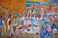 Maroc, Casablanca, place Mohammed V, le Wilaya, ex hotel de ville, 1937, epinture de Jacques Majorelle / Morocco, Casablanca, Mohammed V square, Wilaya (ex city hall), 1937, Jacques Majorelle painting
