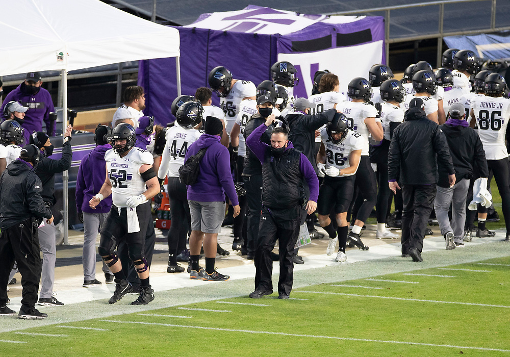 November 14, 2020:  Northwestern head coach Pat Fitzgerald roams the sidelines during NCAA football game action between the Northwestern Wildcats and the Purdue Boilermakers at Ross-Ade Stadium in West Lafayette, Indiana. Northwestern defeated Purdue 27-20.  John Mersits/CSM.