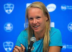 August 19, 2018 - Kiki Bertens of the Netherlands talks to the media after winning the 2018 Western & Southern Open WTA Premier 5 tennis tournament. Cincinnati, Ohio, USA. August 19th 2018. (Credit Image: © AFP7 via ZUMA Wire)