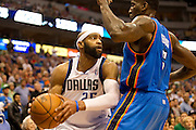 Vince Carter (25) of the Dallas Mavericks looks to pass the ball against the Oklahoma City Thunder at the American Airlines Center in Dallas on Sunday, March 17, 2013. (Cooper Neill/The Dallas Morning News)