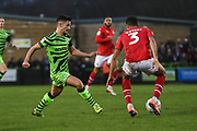 Forest Green Rovers Liam Shephard(2) passes the ball forward during the EFL Sky Bet League 2 match between Forest Green Rovers and Swindon Town at the New Lawn, Forest Green, United Kingdom on 21 December 2019.