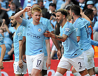Football - 2019 Emirates FA Cup Final - Manchester City vs. Watford<br /> <br /> Kevin de Bruyne of Man City celebrates his goal with Kyle Walker, at Wembley Stadium.<br /> <br /> COLORSPORT/ANDREW COWIE