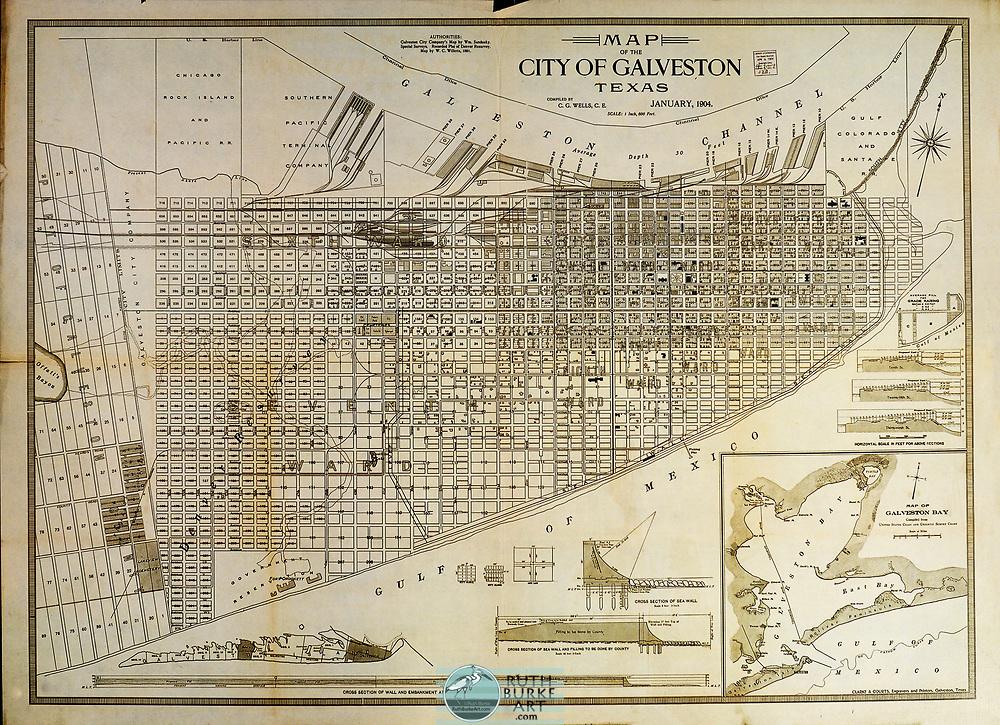Vintage maps of Galveston, Texas and Galveston County
