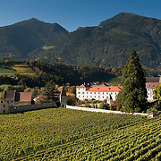 VARN, ITALY - OCTOBER 13: A panoramic view of  Abbazia di Novacella and its vineyards on October 13, 2010 in Varn, Italy. Abbazia di Novacella, in Alto Adige established in the year 1142 by Augustinian monks, is one of the oldest vineries in the world; it has a production of about 400,000 bottles of world class wines including Kerner, Sylvaner, Pinot Grigio, Gewurtztraminer.