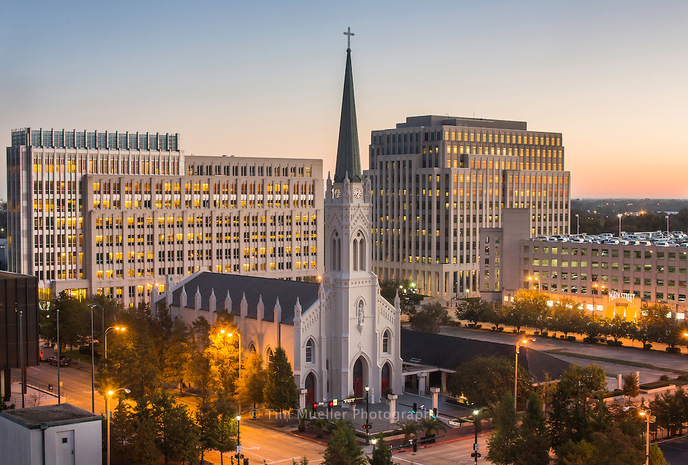 St. Joseph Cathedral in downtown Baton Rouge, La. is seated next to State office buildings in the Capitol Park complex.