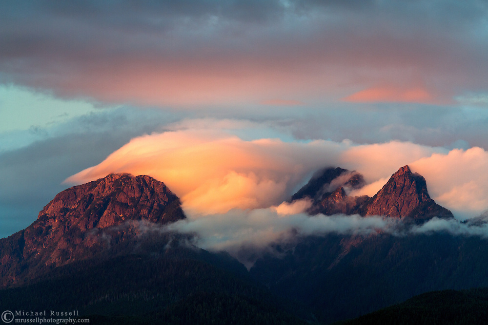 Clouds clear off the Golden Ears (Mount Blanshard) at sunset in the Coast Mountains of British Columbia, Canada