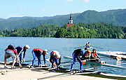 Bled, SLOVENIA, General View, GV athletes, GBR LM4-.  boating for  a training session.  1st FISA World Cup, on Lake Bled. Thursday  27/05/2010  [Mandatory Credit Peter Spurrier/ Intersport Images]