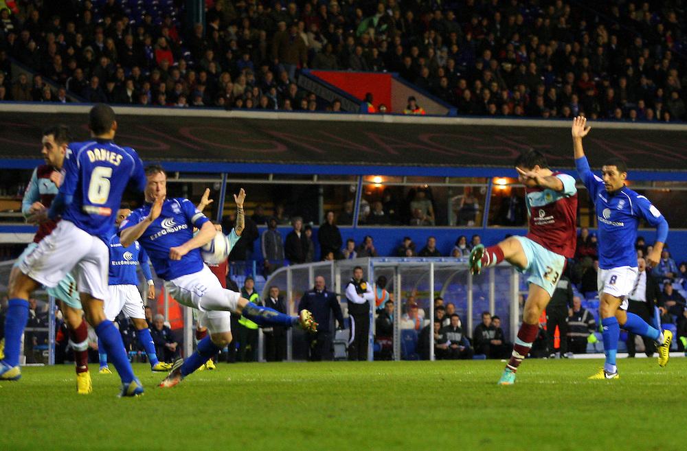 Burnley's Charlie Austin lashes a shot at goal..Football - npower Football League Championship - Birmingham City v Burnley - Saturday 22nd December 2012 - St Andrews - Birmingham..