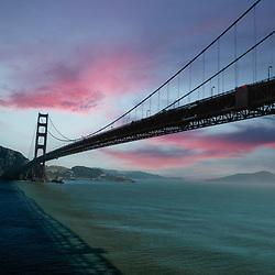 Aerial view of the Golden Gate Bridge, San Francisco California