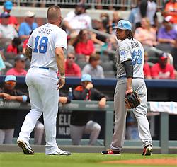June 18, 2017 - Atlanta, GA, USA - Atlanta Braves' Matt Adams has words with Miami Marlins pitcher Jose Urena at the end of the second inning after Urena hit Adams with a pitch and the Braves' Kurt Suzuki with a pitch on Sunday, June 18, 2017, in Atlanta, Ga. (Credit Image: © Curtis Compton/TNS via ZUMA Wire)