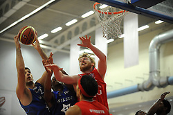 Bristol Flyers' Mathias Seilund challenges for the ball - Photo mandatory by-line: Dougie Allward/JMP - Mobile: 07966 386802 - 18/10/2014 - SPORT - Basketball - Bristol - SGS Wise Campus - Bristol Flyers v Durham Wildcats - British Basketball League
