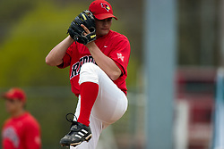 15 April 2006: Redbird Relief picther Mike Hlavacek winds up. Bradley University Braves are defeated in game one of a double header against the Illinois State University Redbird at Redbird Field in Normal IL.