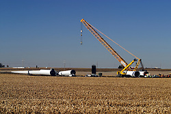 29 October 2006:  A crane sit idle, but will soon be used to upright several pieces of a windmill that will be used to capture wind power. Eastern McLean County, Illinois.<br />