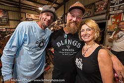 Rhett Rotten with Denise and Bill Dodge at Bill's Blings Cycle shop during Biketoberfest. Daytona Beach, FL, USA. Friday October 20, 2017. Photography ©2017 Michael Lichter.