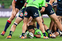 March 1, 2019 - Victoria, VIC, U.S. - MELBOURNE, AUSTRALIA - MARCH 01: Josh Ioane (15) of the Highlanders defends the ball at The Super Rugby match between Melbourne Rebels and Highlanders on March 01, 2019 at AAMI Park, VIC. (Photo by Speed Media/Icon Sportswire) (Credit Image: © Speed Media/Icon SMI via ZUMA Press)