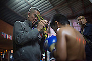 Jan 24, 2014 - Chiang Mai, Thailand - <br /> <br /> Nine Year Old Muay Thai Fighter<br /> <br /> A Mong Kon (ceremonial Muay Thai headwear) is placed on Focus head before his fight at the Thapae Muay Thai Stadium in Chiang Mai. PETCHFOGUS SITTHAHARNAEK, 9, aka Focus is the top fighter for his age and weight in Chiang Mai. He has begun fighting older, heavier opponents to continue to improve his skills. Fighters are typically paid 1000 baht (0) per fight. <br /> ©Exclusivepix