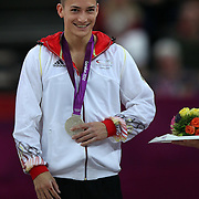 Marcel Nguyen, Germany, Silver Medal winner in the Men's Parallel Bars Final at North Greenwich Arena during the London 2012 Olympic games London, UK. 7th August 2012. Photo Tim Clayton