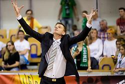 Gasper Okorn, head coach of KK Union Olimpija reacts during basketball match between KK Union Olimpija and KK Rogaska in 2nd Final game of Liga Nova KBM za prvaka 2016/17, on May 19, 2017 in Hala Tivoli, Ljubljana, Slovenia. Photo by Vid Ponikvar / Sportida