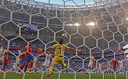 SAMARA, June 17, 2018  Goalkeeper Vladimir Stojkovic of Serbia defends during a group E match between Costa Rica and Serbia at the 2018 FIFA World Cup in Samara, Russia, June 17, 2018. Serbia won 1-0. (Credit Image: © Fei Maohua/Xinhua via ZUMA Wire)