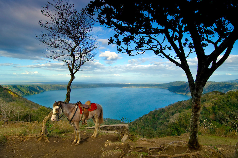 A horse waits to give rides to tourists around the Laguna de Apoyo, a water filled crater of an extinct<br /> volcano.