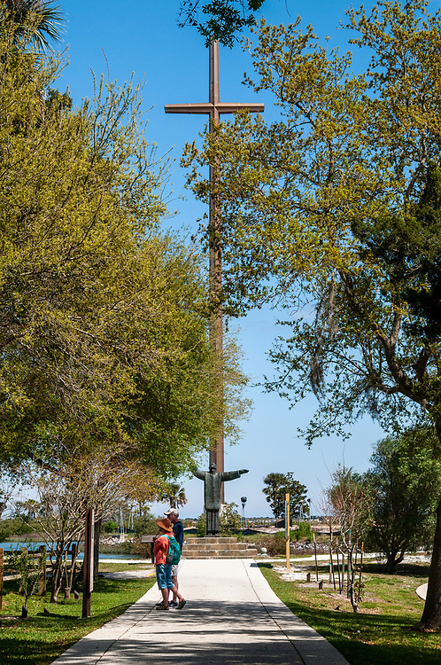 The Great Cross towers over the landscape at the National Shrine of Our Lady of La Leche at Mission Nombre de Dios in St. Augustine, Florida on Friday, March 19, 2021. Copyright 2021 Jason Barnette