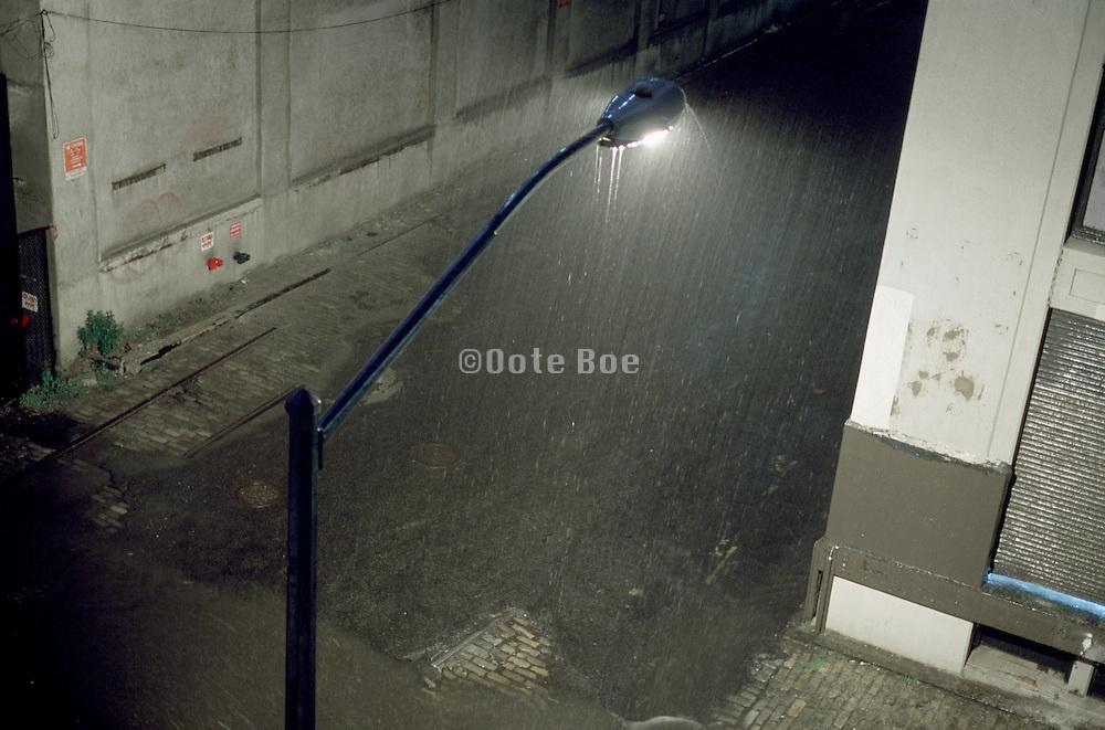 Lamp post in the rain
