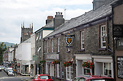 Street in town centre of Tavistock, Devon, England, UK