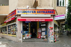 Typical corner alcohol and newsagent shop in Rixdorf neighbourhood of Neukolln in Berlin Germany