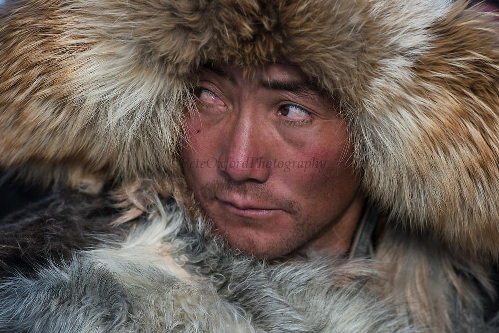 Kazakh eagle hunter<br /> Golden Eagle Festival<br /> in Bayan Olgii province<br /> Western Mongolia