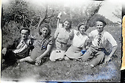 young adult farmers with their wives a child and friend France 1950s