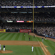 Mariano Rivera, the New York Yankees pitcher, salutes the crowd during his last game at Yankee Stadium before his retirement during the New York Yankees V Tampa Bay Rays, American League baseball game at Yankee Stadium. Mariano Rivera is the last Major League player still wearing Jackie Robinson's No. 42. and holds the record for the number of saves in Major League Baseball. Yankee Stadium, The Bronx, New York USA. 26th September 2013. Photo Tim Clayton
