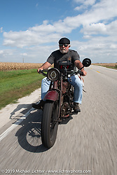Rick Salisbury of the Legends Motorcycle Museum riding his 1928 Indian Ace on the Motorcycle Cannonball coast to coast vintage run. Stage 7 (274 miles) from Cedar Rapids to Spirit Lake, IA. Friday September 14, 2018. Photography ©2018 Michael Lichter.