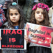Iraq Vigil on steps of Royal Concert Hall, Glasgow.  Picture Robert Perry for The Herald and Evening Times 7th July 2016