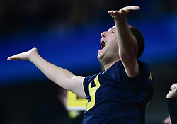 Michigan Wolverines fan reacts during the Chick-fil-A Bowl Game at  the Mercedes-Benz Stadium, Saturday, December 29, 2018, in Atlanta. ( Kyle Hess via Abell Images for Chick-fil-A Kickoff)
