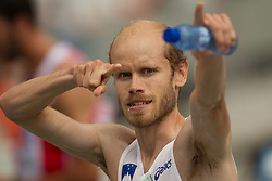 Bostjan Buc of Slovenia after he competed in the Mens 3000m Steeplechase Heat during day four of the 20th European Athletics Championships at the Olympic Stadium on July 30, 2010 in Barcelona, Spain.  (Photo by Vid Ponikvar / Sportida)
