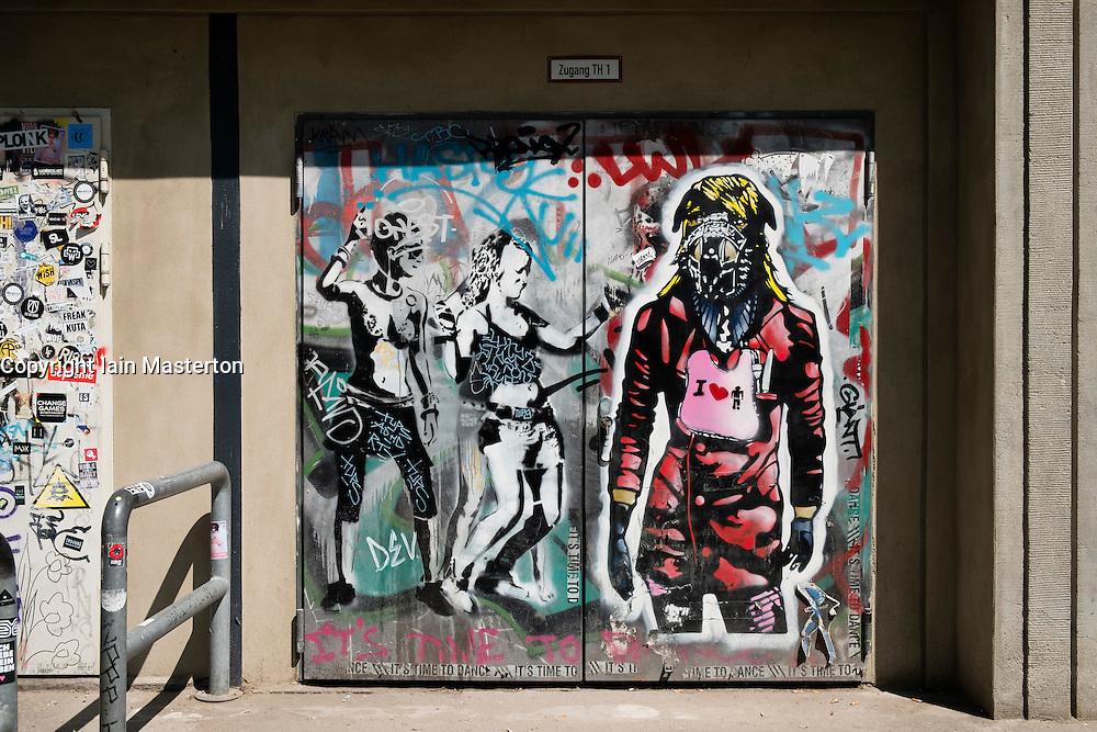 Entrance door to Bargain nightclub in Berlin Germany