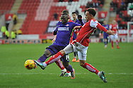 Igor Vetokele of Charlton Athletic and Shay Facey of Rotherham United go for the ball during the Sky Bet Championship match between Rotherham United and Charlton Athletic at the New York Stadium, Rotherham, England on 30 January 2016. Photo by Ian Lyall.