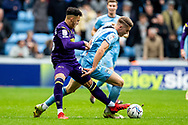 Viktor Gyokeres of Coventry City battles for possession during the EFL Sky Bet Championship match between Coventry City and Derby County at the Coventry Building Society Arena, Coventry, England on 23 October 2021.
