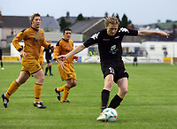 Photo: Rich Eaton.<br /> <br /> Carmarthen Town v SK Brann. UEFA Cup Qualifying. 19/07/2007. SK Brann's Erik Huseklepp shoots in the second half.