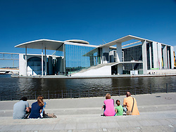 View of government Marie Elisabeth Lueders House beside Spree River in  Berlin, Germany