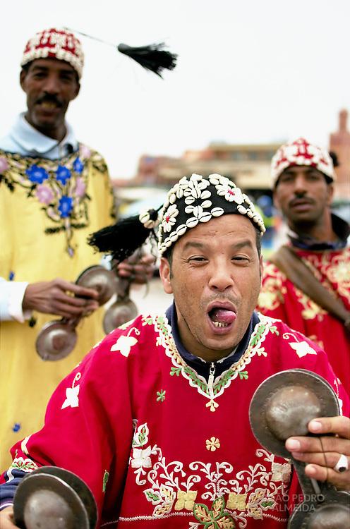 Traditional musicans at Marrakesh's Jema El Fnaa square